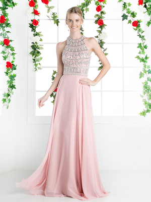 CD-8915 Halter Beaded Top Prom Evening Dress, Blush