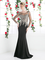 CD-8916 Illusion Embellished Long Evening Dress  - Black, Front View Thumbnail