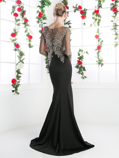 CD-8916 Illusion Embellished Long Evening Dress  - Black, Back View Medium