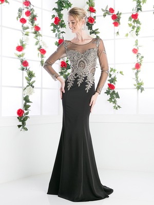CD-8916 Illusion Embellished Long Evening Dress , Black