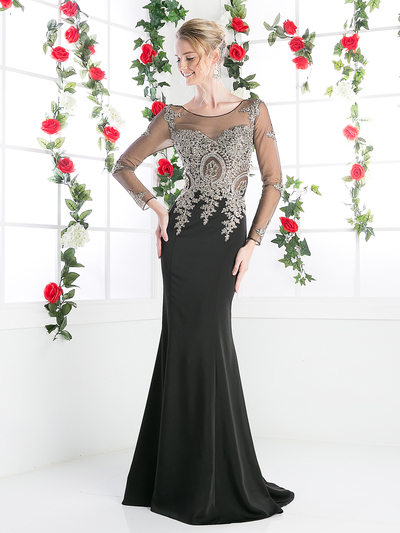 CD-8916 Illusion Embellished Long Evening Dress  - Black, Front View Medium