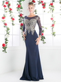 CD-8916 Illusion Embellished Long Evening Dress  - Navy, Front View Thumbnail