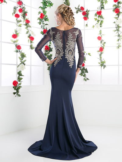 CD-8916 Illusion Embellished Long Evening Dress  - Navy, Back View Medium