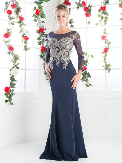CD-8916 Illusion Embellished Long Evening Dress  - Navy, Front View Medium