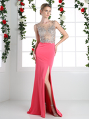CD-8920 Sparkling Bodice Prom Evening Dress with Slit, Fuchsia