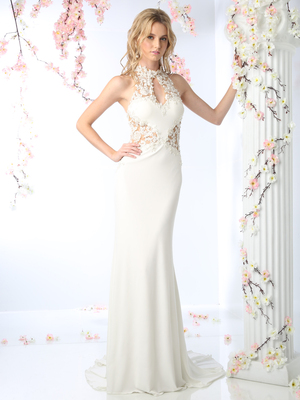 CD-8927 Floral Applique High Neck Bridal Gown, Off White