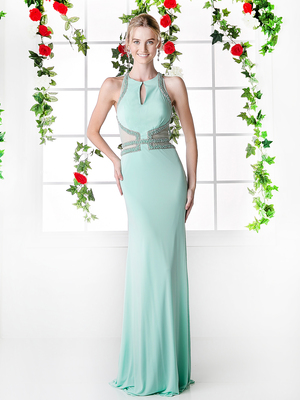 CD-8929 Halter Top Evening Dress with Cut Outs, Mint