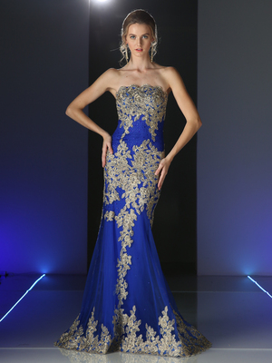 CD-8930 Strapless Long Evening Dress with Golden Applique, Royal