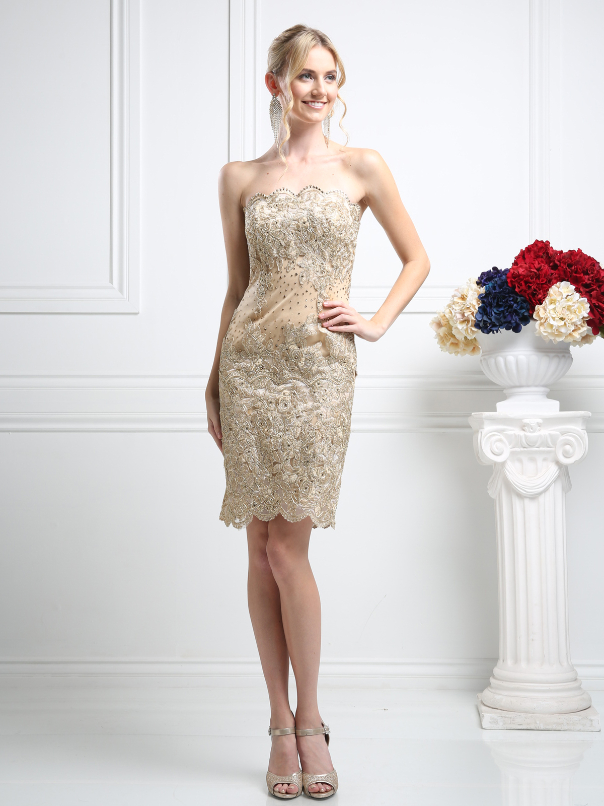 Strapless Cocktail Dress with Rosette Applique Design | Sung ...