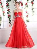 CD-970 Strapless Sparkling Jeweled Prom Dress, Red
