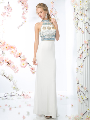 CD-971 Halter Top Beaded Prom Dress with Train , Off White