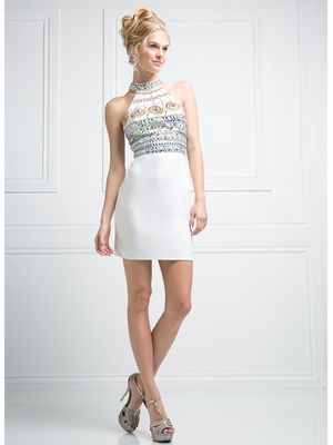 CD-973 Halter Top Fitted Short Cocktail Dress, Ivory