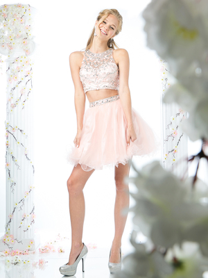 CD-975 Two Piece Prom Homecoming Dress, Blush