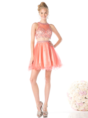 CD-976 Mock Two Piece Short Homecoming Dress  , Coral