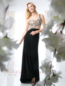 CD-977 Illusion Flora Evening Dress with Side Cutout, Black Nude