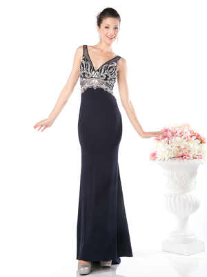 CD-978 Sleeveless V-Neck Embellished Evening Dress , Navy