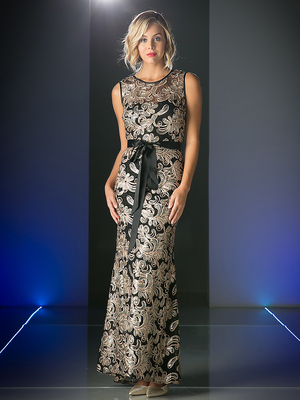 CD-C1882 Lace Evening Gown with Sequin Detail, Black
