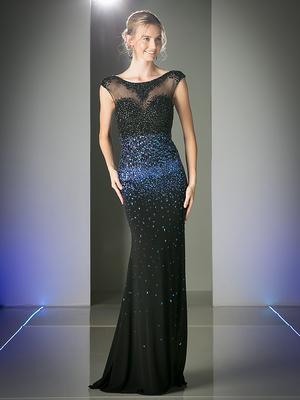 CD-C213 Floor Length Sleeveless Sequin Sheer Prom Dress , Black Royal