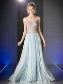 CD-C270 Beaded Bodice Illusion Prom Evening Gown, Perry Blue
