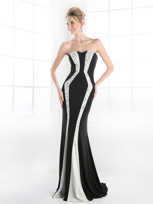 CD-C276 Pearl Encrusted Sweetheart Trumpet Gown, Black White