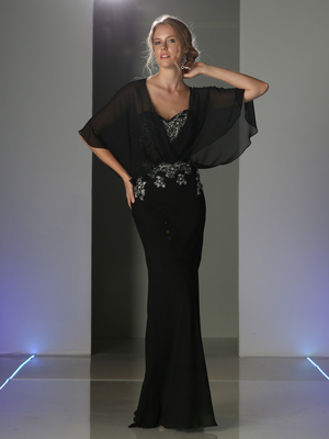 CD-C280 Caplet Long Evening Dress, Black