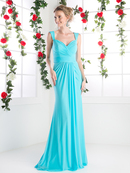 CD-C7457 Wide Shoulder Strap Sweetheart Evening Dress, Sky Blue