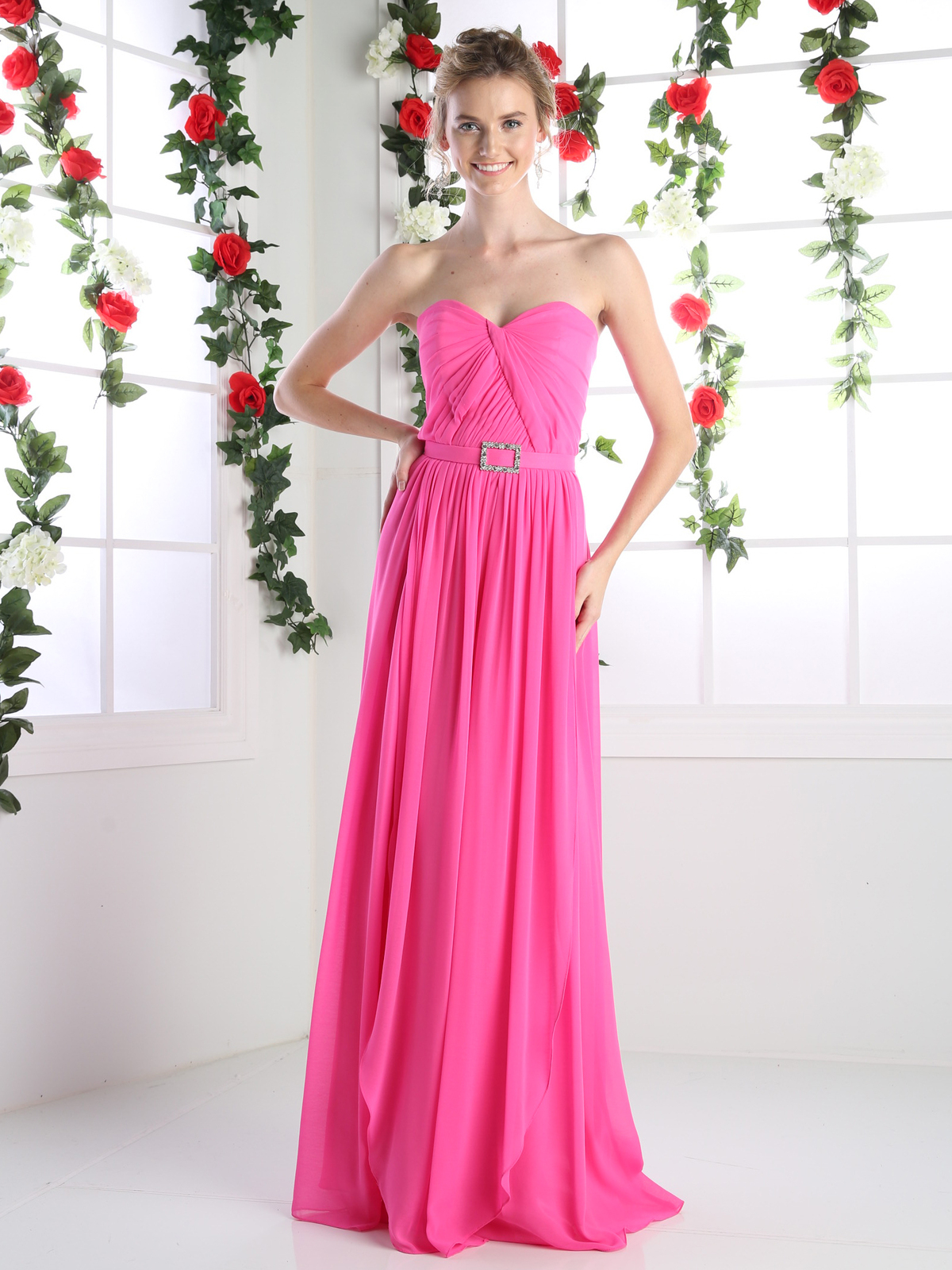 Sweetheart twisted front bridesmaid dress sung boutique la cd c7460 sweetheart twisted front bridesmaid dress hot pink front view medium ombrellifo Images