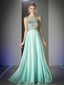 CD-C974 Sleeveless Long Prom Dress with Sheere Bodice, Mint