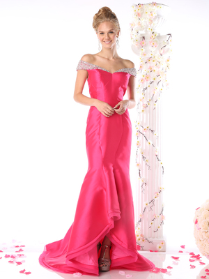 CD-CB756 Drop Shoulder Mermaid High Low Prom Evening Dress, Fuchsia