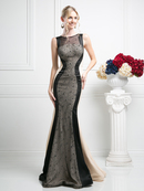 CD-CB764 Two Toned Evening Gown with Lace Panel, Black Nude