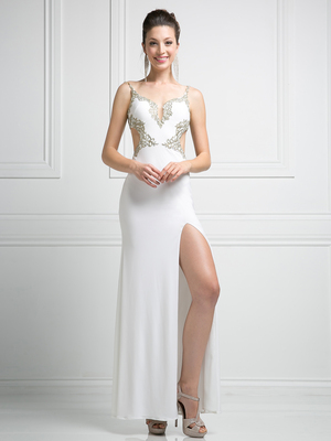 CD-CD484 Mock Two Piece Evening Dress, Cream
