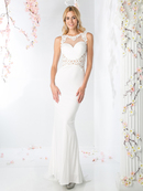 CD-CD485 Halter Front V Back Bridal Dress with Court Train, Off White