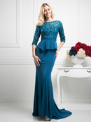 CD-CD486 Lace Bodice Mother of the Bride Dress with Court Train , Teal