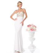 CD-CD488 Strapless Bridal Dress with Beaded Top and Train, Cream