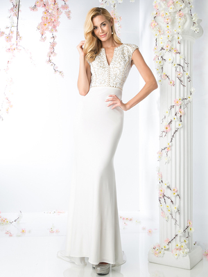 CD-CD489 Cap Sleeve Bridal Dress with Sweeping Train, Off White