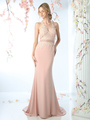 CD-CD491 Halter Applique Long Prom Dress with Train - Blush, Front View Thumbnail