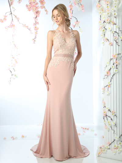 CD-CD491 Halter Applique Long Prom Dress with Train - Blush, Front View Medium
