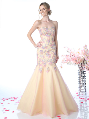 CD-CD492 Sweetheart Trumpet Prom Evening Gown , Yellow Peach