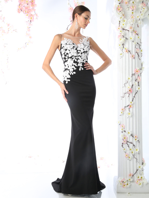 CD-CD493 Flora Applique Prom Dress with Mermaid Hem, Black