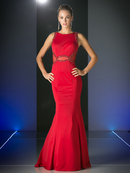 CD-CD495 Form Fitting Trumpet Gown with Sequin Trim, Red