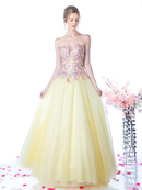 CD-CD496 Strapless Long Prom Gown with Tulle Skirt, Yellow