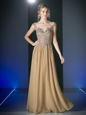 CD-CF005 Illusion Scope Neck Evening Dress, Khaki