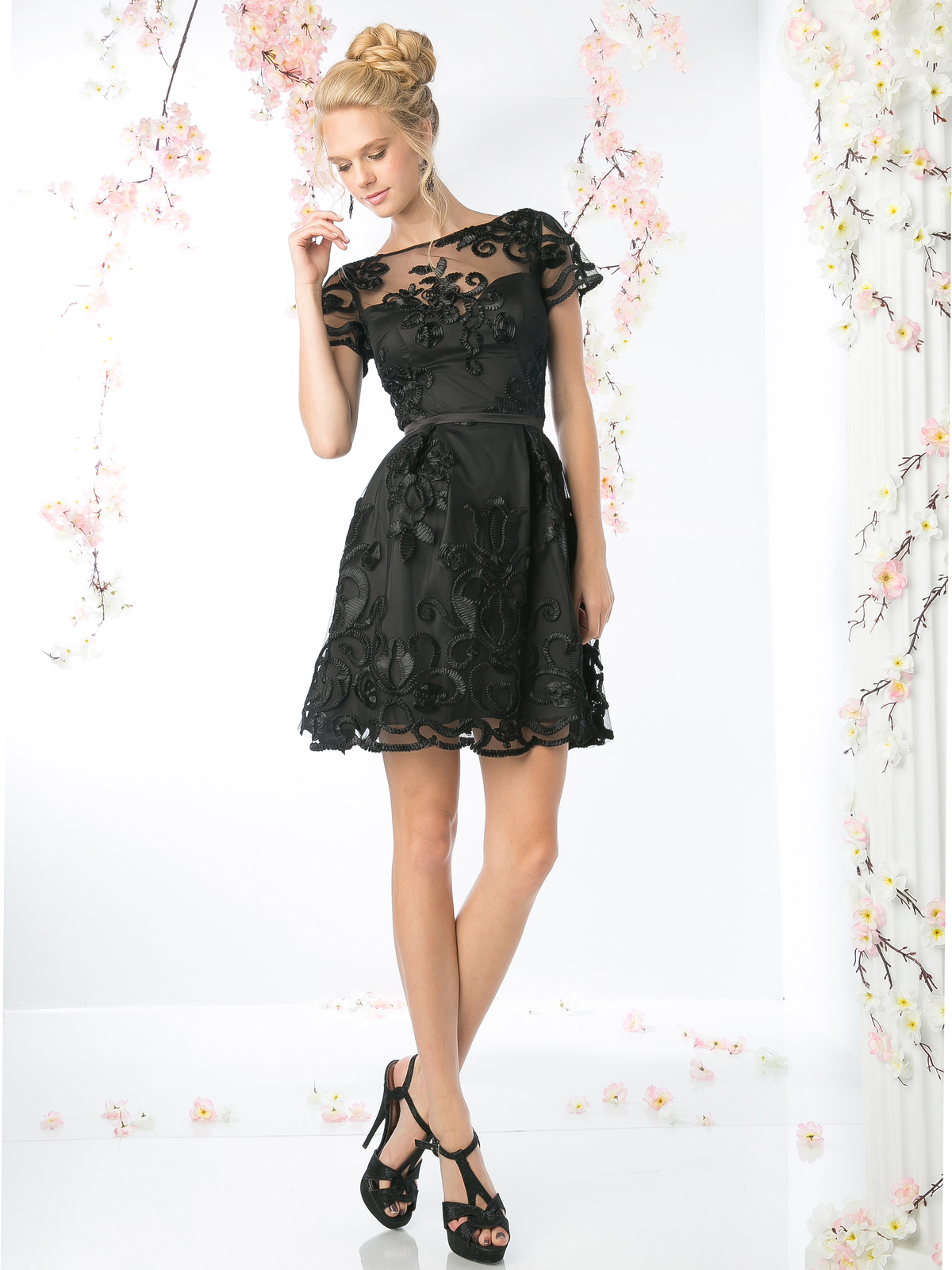 Short Sleeve Lace Overlay Cocktail Dress | Sung Boutique L.A.
