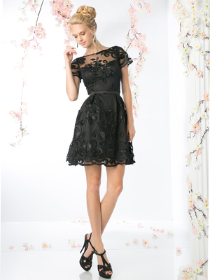 CD-CF027 Short Sleeve Lace Overlay Cocktail Dress, Black