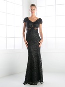 CD-CF065 V-Neck Cap Sleeveless Mother of the bride Evening Dress, Black