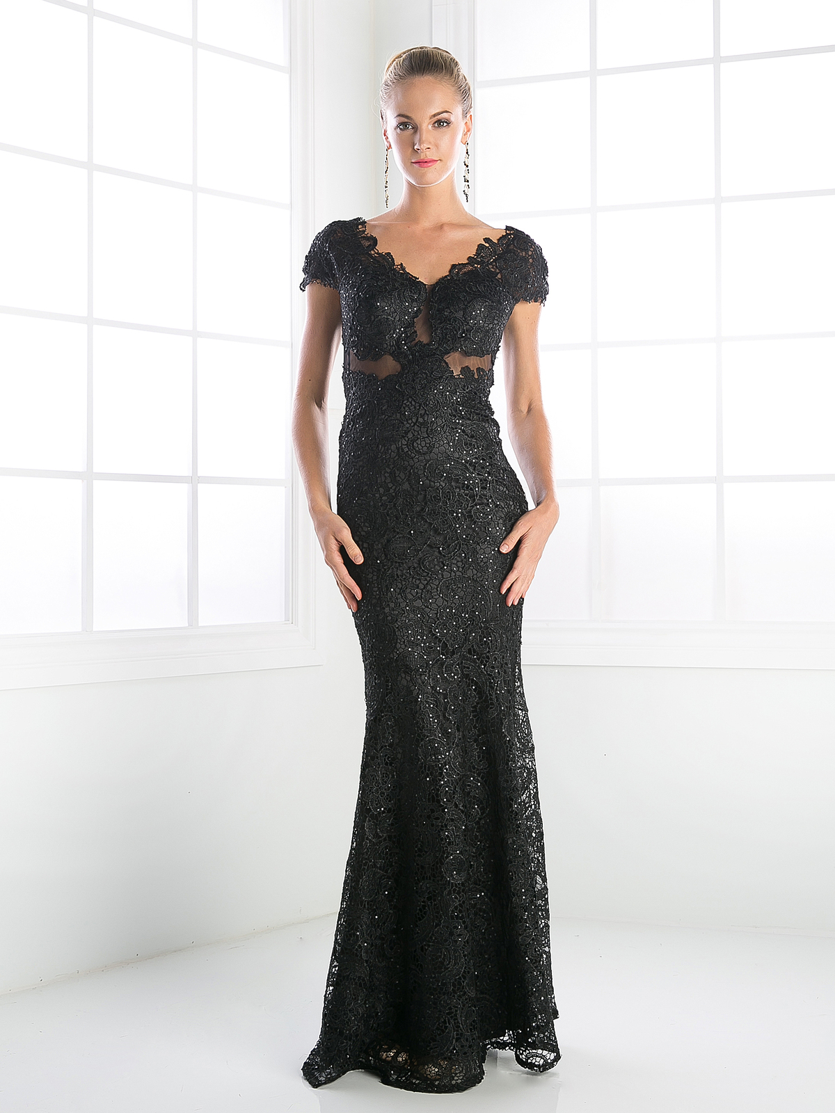 V-Neck Cap Sleeveless Mother of the bride Evening Dress | Sung ...