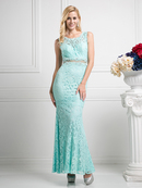 CD-CF067L Sleeveless Mock Two-Piece Evening Dress, Mint