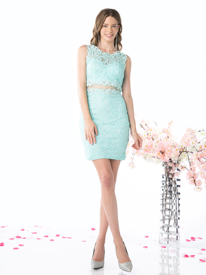 CD-CF067S Sleeveless Lace Cocktail Dress, Mint