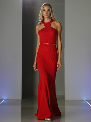 CD-CF076 Halter Cut Out Prom Evening Dress, Red