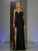 CD-CF077 Strapless Sweetheart Evening Dress with Slit, Black